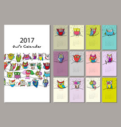 owls calendar 2017 design vector image