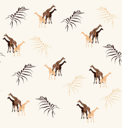 Palm trees leaves silhouette and giraffe vector
