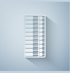 Paper cut abacus icon isolated on grey background vector