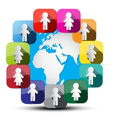 Paper Cut People Around Globe vector image