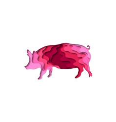 paper cut pig shape 3d origami vector image