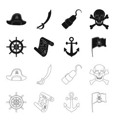 pirate bandit rudder flag pirates set vector image