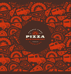 pizzeria label and frame with pattern vector image