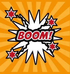 Pop art boom comic bubble speech explotion vector