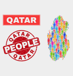 Qatar map population people and unclean watermark vector