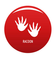 Racoon step icon red vector