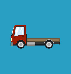 Red mini truck without load isolated vector