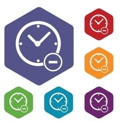 Reduce time hexagon icon set vector