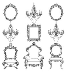 rich baroque rococo furniture and frames set vector image