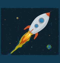 rocket ship blasting through space vector image