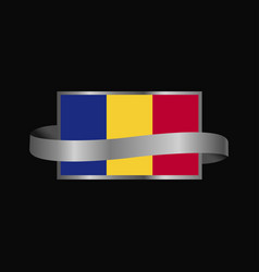 Romania flag ribbon banner design vector
