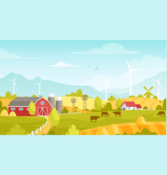 rural landscape with farm vector image