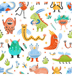 Seamless pattern with strange charming fantastic vector