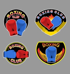 Set boxing emblem Boxing gloves in embem vector image