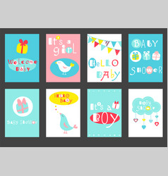 set of birthday banners with cute birds vector image