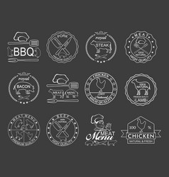 set of butcher shop labels vector image