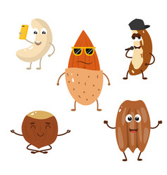 Set of funny characters from nuts vector