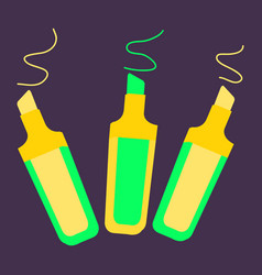 Set of marker pens art colourful highlighters vector