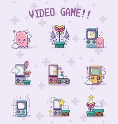 set of retro videgames characters vector image