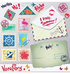 Set vintage post stamps postcard and envelope vector