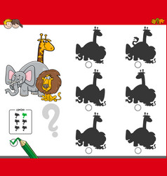 Shadow activity game with animals characters vector