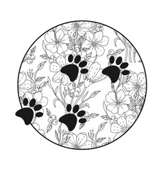 Silhouette black dog paws in circle with doodle vector