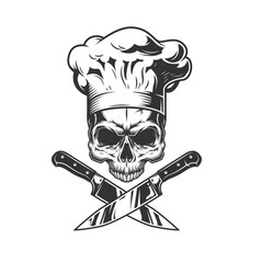 Skull without jaw in chef hat vector