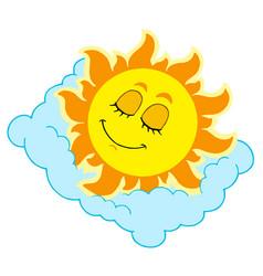 Sleeping sun on cloudy pillow vector