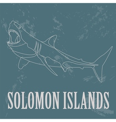 Solomon islands Great white shark Retro styled vector image
