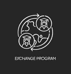 Student exchange program chalk white icon on vector