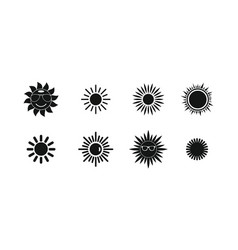sun icon set simple style vector image