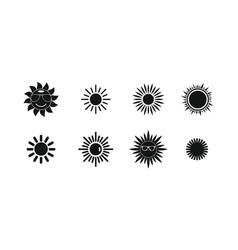 sun icon set simple style vector image