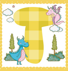 t alphabet letter for kids vector image