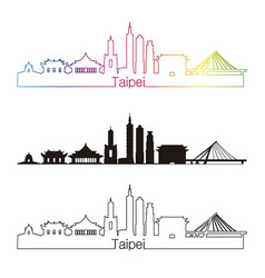 Taipei v2 skyline linear style with rainbow vector