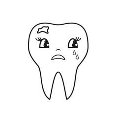 Teeth bad cry icon vector