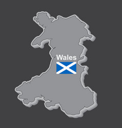 the map of wales with flag on dark background vector image