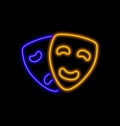 theater masks neon sign bright glowing symbol on vector image