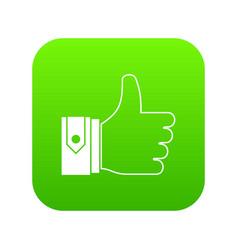 thumbs up icon digital green vector image