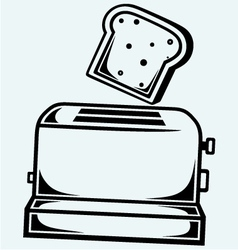 Toast popping out a toaster vector