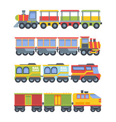 toy trains set colorful game steam locomotive vector image
