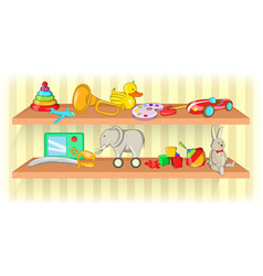 toys shelf horizontal banner cartoon style vector image