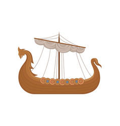 Viking scandinavian draccar norman ship sailing vector