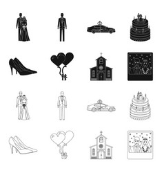 Wedding and attributes blackoutline icons in set vector
