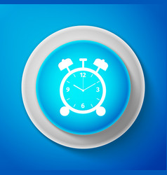 White alarm clock icon isolated on blue background vector