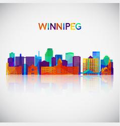 winnipeg skyline silhouette in colorful geometric vector image