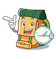with clock backpack character cartoon style vector image