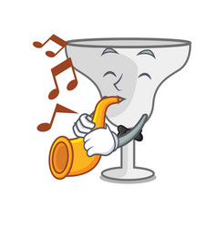 with trumpet margarita glass mascot cartoon vector image