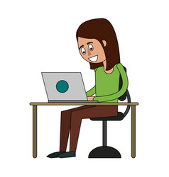 woman in desk with laptop vector image