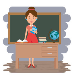 woman teacher in the classroom vector image