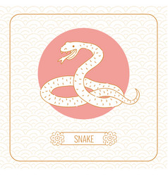Year snake chinese horoscope line art and vector